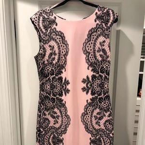 Misses Size 10 Pink w/Black Lace Print Detail